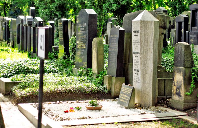 Новое еврейское кладбище в Праге, могила Франца Кафки.