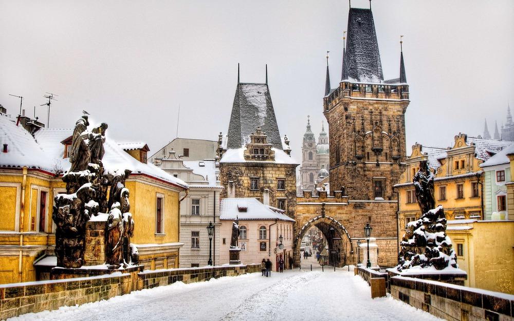Прага зимой - Карлов мост в Праге